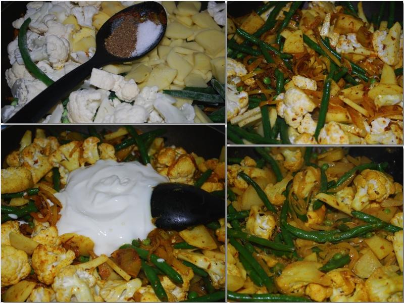 Bland inn garam masala, salt og yoghurt. Rør godt.