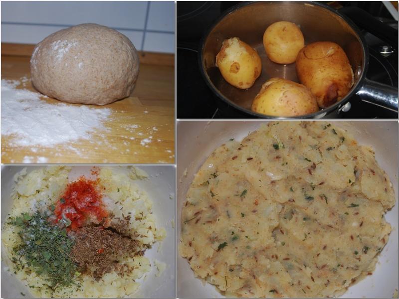Aloo parantha: Bland de moste potetene med løk, hvitløk og krydder.