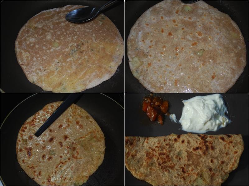 Aloo parantha: Stek flatbrødene i en stekepanne.