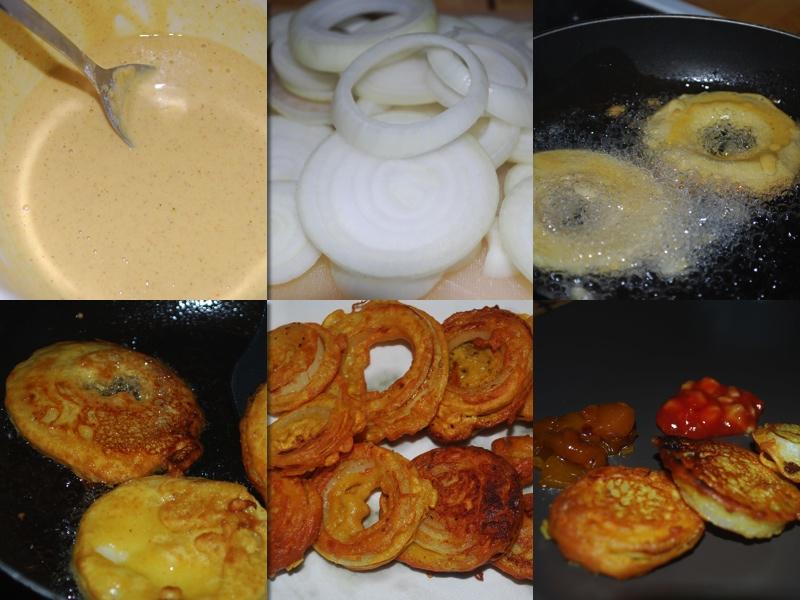 Løk pakora: løkringer dyppes i en blanding av kikertmel, og frityrstekes.